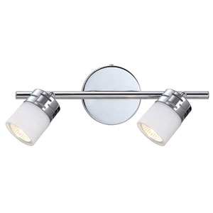 Megan Chrome Two Light Directional Spotlight with White Flat Opal Glass