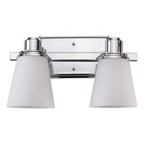 Chatham Chrome Two-Light Bath Fixture with Flat White Opal Glass