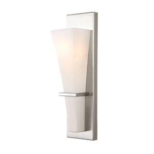 Laurel Brushed Nickel One Light Vanity with White Flat Opal Glass