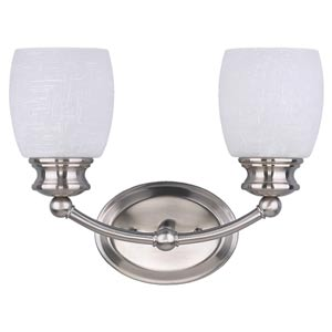 Palms Brushed Pewter Two-Light Bath Light with White Linen Glass