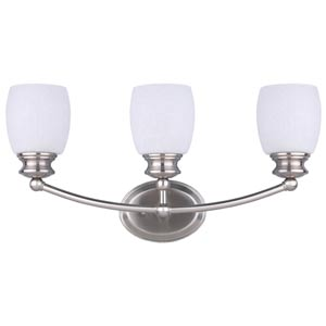 Palms Brushed Pewter Three-Light Bath Light with White Linen Glass