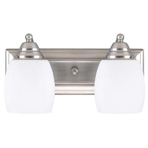 Griffin Brushed Pewter Two Light Vanity with Flat White Opal Glass