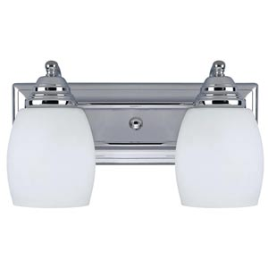 Griffin Chrome Two-Light Bath Light with Flat White Opal Glass