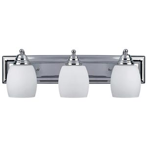 Griffin Chrome Three-Light Bath Light with Flat White Opal Glass