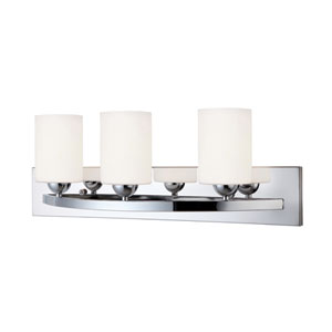 Hampton Chrome Three Light Vanity with White Flat Opal Glass