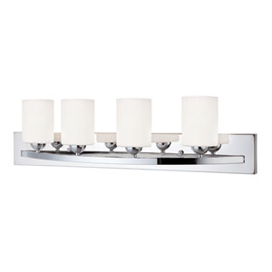 Hampton Chrome Four Light Vanity with White Flat Opal Glass