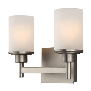 Lyndi Brushed Nickel Two-Light Vanity Light