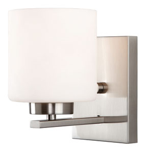 Leigha Brushed Nickel One Light Vanity with White Flat Opal Glass
