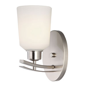 Quincy Brushed Nickel One Light Vanity with White Flat Opal Glass