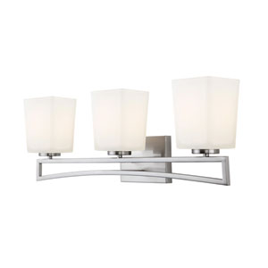 Alexa Brushed Nickel Three Light Vanity with Flat Opal Glass