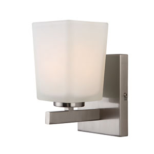 Hartley Brushed Nickel One Light Vanity with Flat Opal Glass
