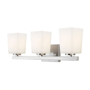 Hartley Brushed Nickel Three Light Vanity with Flat Opal Glass