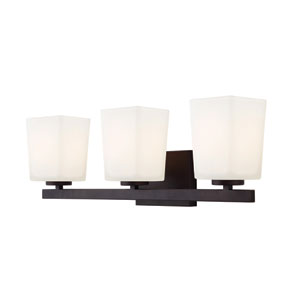 Hartley Oil Rubbed Bronze Three Light Vanity with Flat Opal Glass