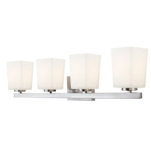 Hartley Brushed Nickel Four Light Vanity with Flat Opal Glass