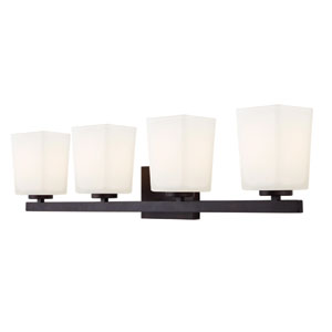 Hartley Oil Rubbed Bronze Four Light Vanity with Flat Opal Glass