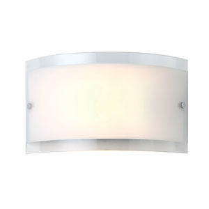 Logan Chrome One Light Wall Sconce with White Flat Opal and Clear Rim Glass
