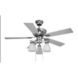 New Yorker Brushed Pewter Three-Light 42-Inch Ceiling Fan with Flat White Opal Glass
