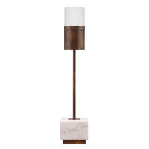 Lazio Bronze Patina Metal with White Marble and White Glass One-Light Table Lamp