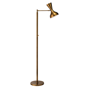 Pisa Antique Brass And Hood Interior Is White Two-Light Floor Lamp