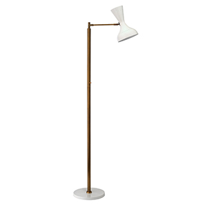Pisa White Lacquer And Antique Brass Two-Light Floor Lamp