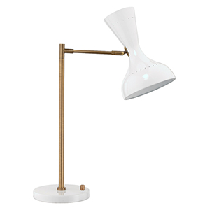 Pisa White Lacquer And Antique Brass Two-Light Table Lamp