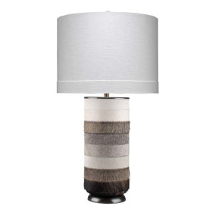Winslow White Light Gray with Dark Gray Hide One-Light Table Lamp