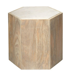 Argan Natural Wood and White Marble 18-Inch Hexagon Table