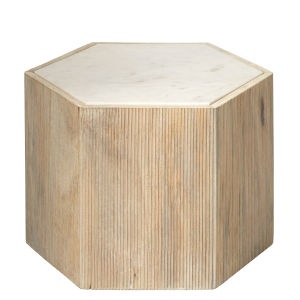 Argan Natural Wood and White Marble 14-Inch Hexagon Table
