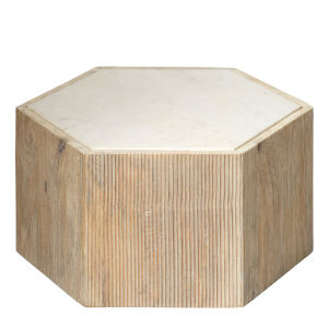 Argan Natural Wood and White Marble 10-Inch Hexagon Table