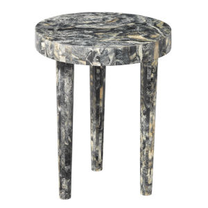 Artemis Black Resin 16-Inch Mango Wood and Resin Side Table