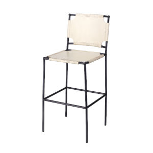 Asher Off-White Leather and Black Metal Bar Stool