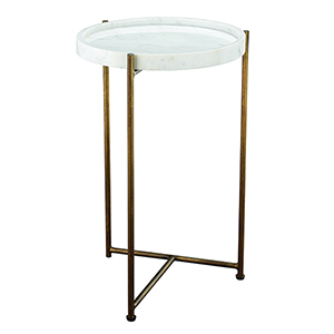 Athens White Marble and Antique Brass Side Table