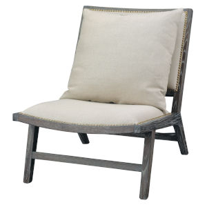 Baldwin Off White Linen and Dark Wood Furniture