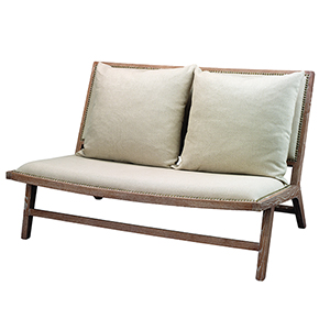 Baldwin Off White Linen and Gray Washed Wood Furniture