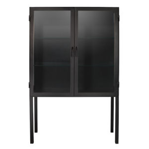 Chauncey Black Iron with Clear Glass Curio Bar Cabinet