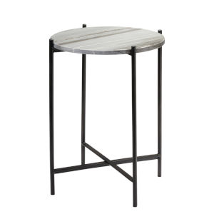 Domain Gray Marble with Black Iron Side Table