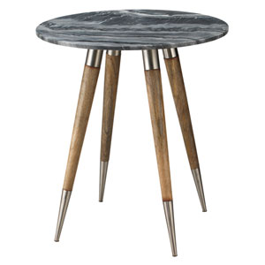 Owen Grey Marble with Natural Wood and Silver Metal 28-Inch Side Table