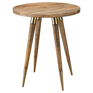 Owen Natural Wood with Antique Brass Side Table