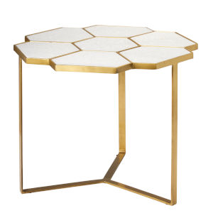 Perennial White Marble with Antique Brass Side Table