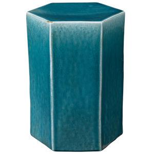 Porto Azure Ceramic 10-Inch Ceramic Side Table