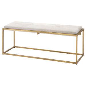 Shelby White Antique Brass Bench