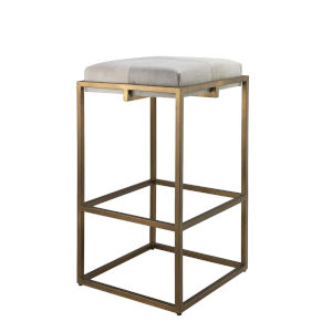 Shelby White Hide with Antique Brass Bar Stool