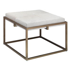 Shelby White Hide and Antique Brass Stool
