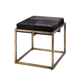 Shelby Espresso Hide with Antique Brass Stool