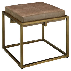 Shelby Taupe Leather 18-Inch Leather Stool