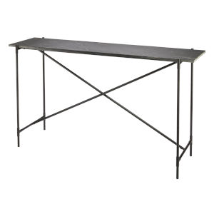 Statesman Black Textured Marble with Black Iron Console Table