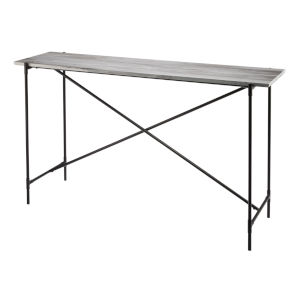 Statesman Gray Marble with Black Iron Console Table