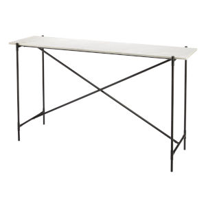 Statesman White Marble with Black Iron Console Table