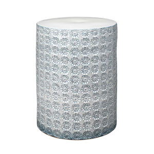 Wildflower White with Gray Reactive Glaze Side Table