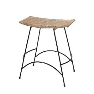 Wing Natural Rattan and Black Steel Counter Stool